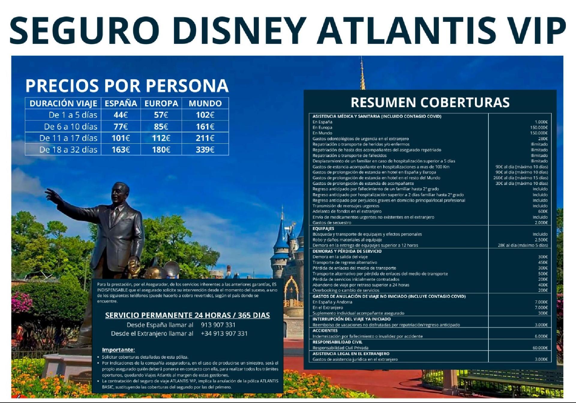 Seguro de Viaje DISNEY ATLANTIS VIP